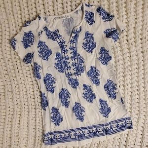 White and Royal Blue Cato Blouse
